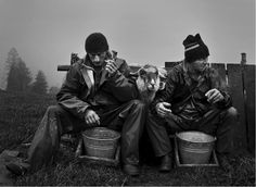 Polish farmers up in the Tatra mountains taking a break, the milk from the sheep will go towards the Oszczypek cheese, delightfully smoked...