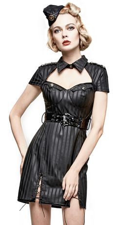 Nouveau produit : Robe noire rayee pinup militaire avec col ceinture en vinyl lacage amovible sexy fetish Vous aimez ? / New product do you like ? Prix: 79.90 #new #nouveau #japanattitude #robes #gothique #gothic #pinup #fetish #militaire #noir #punk #rave #punkrave #robe #femme #goth #sexy #decollete #grade #raye #simili #cuir #synthetique #lacage #dos #nu #court #q305 #q305bk #black #dress #woman #military #cleavage #striped #faux #leather #synthetic #lacing #back #naked #short #q-305…