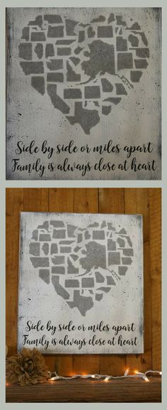 My family is spread all over the country but I would be lost without them! Side By Side Or Miles Apart Family Is Always Close At Heart - Home Decor, Farmhouse Wood Sign, Family Photo Wall Sign, Military Family Sign, Handmade Sign, Rustic Decor, Rustic Farmhouse, Gift Idea, Wall Art #ad