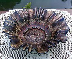 "10"" Cobalt Blue Persian Medallion Bowl by Fenton"