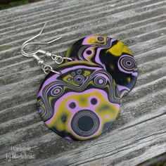 earrings made of polymer clay painted with a varnish supplied with silicone stoppers diameter of circles: cm inches) full length: cm inches) Polymer Clay Painting, Personalized Items, Earrings, Handmade, Fimo, Ear Rings, Hand Made, Craft, Pierced Earrings