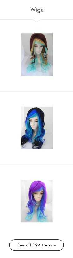 """""""Wigs"""" by joyjoybunny ❤ liked on Polyvore featuring hair, costumes, neon costumes, blue halloween costume, role play costumes, wigs costume, dark costume, beauty products, haircare and hair styling tools"""