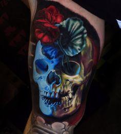 3D Skull & Geranium http://tattooideas247.com/3d-skull-geranium/