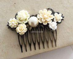 Ivory Hair Comb Cream Wedding Bridal Headpiece by Jewelsalem
