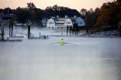 An early morning rower today on the Saugatuck River in Westport. Temperatures dipped below freezing at daybreak.