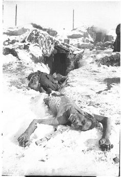 Soviet soldiers who died of hunger and exposure as German prisoners in Stalingrad, found after the battle, 1943.