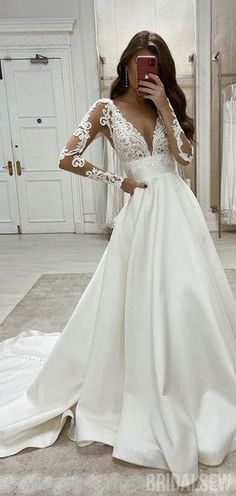 A Line Wedding Dress With Sleeves, Top Wedding Dresses, V Neck Wedding Dress, Cute Wedding Dress, Long Sleeve Wedding, Long Sleeved Wedding Dresses, Glamorous Wedding Dresses, Dresses For Weddings, Wedding Dresses Halter Top