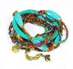 Bracelet in two turn exclusive design art boho hippie style bright individual style original handmade jewellry unisex