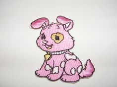 Pink Doggy Iron On Sew Embroidered Patch Applique by LoveLaly