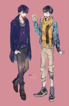 Osomatsu-san - Ishimatsu x Jyushimatsu Matsuno - IchiJyushi Me Me Me Anime, Anime Guys, Osomatsu San Doujinshi, Cartoon Man, Ichimatsu, Hitman Reborn, Boy Art, Anime Outfits, Studio Ghibli