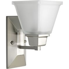 """Progress Lighting North Park 5.5-in W 1-Light Brushed Nickel Arm Wall Sconce $50 10+""""H"""