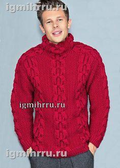 Мужской шерстяной свитер с «косами». Вязание спицами для мужчин