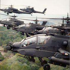 McDonnell Douglas , AH-64A, Apache. Looks like a swarm of locusts. Really big, badass locusts.