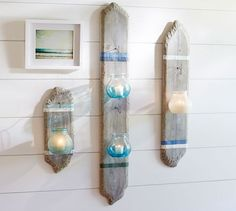 Striped Driftwood Lantern Display | Pottery Barn