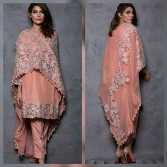 Well asia has been doing capes since so long the west just caught up with it . we have been doing dupattas as a part of our daily wear but with west meeting the east styles have definitely evolved and we are loving this melange . Pakistani Couture, Pakistani Outfits, Indian Outfits, Pakistani Mehndi, Pakistan Fashion, India Fashion, Asian Fashion, Indie Mode, Eastern Dresses