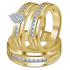 1.00 Ct Round Cut Diamond Set In 14K Yellow Gold Over Wedding Trio Ring Set #giftjewelry22
