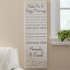 "Relationship Rules Personalized Canvas Print- 12"" x 36"""