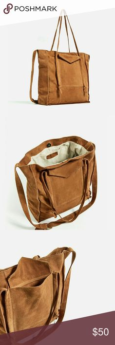 Zara Large Caramel Leather Suede Tote Bag Brand new with tags.  Authentic Zara Leather Tote Bag. Zara Bags Totes