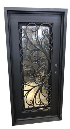 Violet Exterior Wrought Iron Door- Violet Exterior W. Iron Windows, Wrought Iron Doors, Wrought Iron Fences, Steel Doors, Metal Doors Design, Iron Doors, Iron Window Grill, Iron Decor, Iron Security Doors
