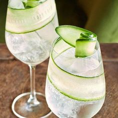 Cucumber as garnish for sparkling ice water. design, food and travel by House & Garden.