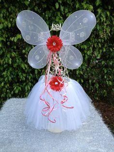 White tutu and White wings with Flower Ballet Tutus Dress Up Dance Princess Party Tutu Set
