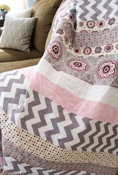 Easy strip quilt by LeAnne Ballard | Everyday Celebrations.  Inspired by a quilt by Tasha at A Little Sweetness.