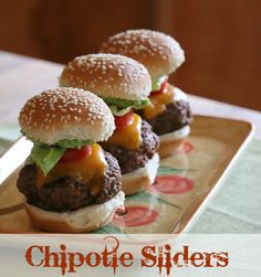 The Finished Slider, Cheesy Chipotle Sliders with Guacamole ! YUMMY!