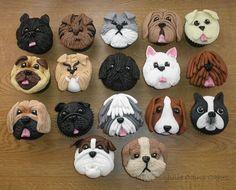 B Puppy Cupcakes, Puppy Cake, Animal Cupcakes, Fondant Dog, Fondant Animals, Dog Cookies, Cupcake Cookies, Cupcake Toppers, Dog Themed Parties