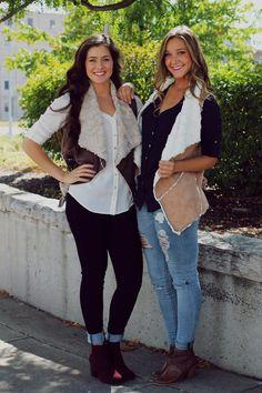 Tan Fur Lined Faux Suede Vest | UOIOnline.com: Women's Clothing Boutique
