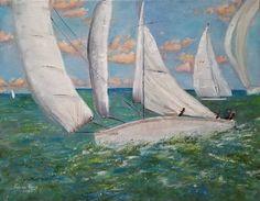 Walnut Oil, Home Decor Wall Art, Sailboat, Original Artwork, Nautical, Sailing, Coastal, Cruise, Wings