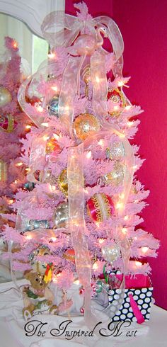 Pink Flocked Tree with Antinque beaded ornaments
