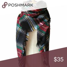 """NWT plaid oversized tartan blanket scarf wrap Gorgeous on trend blanket scarf for fall. Measures 55"""" x 55"""". Colors as shown. Feel free to make offers! Boutique  Accessories Scarves & Wraps"""