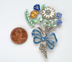 Sterling Enamel Flower Spray brooch