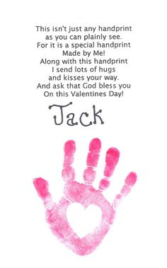 Poem with hand print keepsake