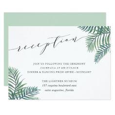 Tropical Foliage Wedding Reception Card - wedding invitations cards custom invitation card design marriage party