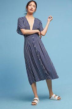 Faithfull Deep-V Striped Dress