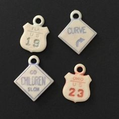 Vintage Celluloid Street Highway Road Sign Charms Cracker Jack Gumball Prize Toy | eBay