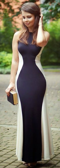 Black Color Block Fishtail Halter Round Neck Sleeveless Dress - Maxi Dresses - Dresses