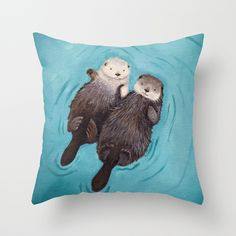 Otterly+Romantic+-+Otters+Holding+Hands+Throw+Pillow+by+When+Guinea+Pigs+Fly+-+$20.00