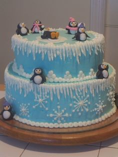 """Winter One-derland - This was for my daughter's first birthday. A """"winter One-derland"""" But living here in virginia, we had an actual record breaking winter wonderland, and now no party. Now we are stuck in the house with a ton of cake, and nobody coming to eat it! :)"""