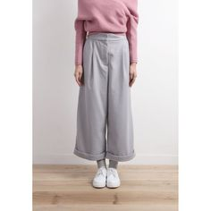 High Waisted Wide Leg Trousers With Folded Hem