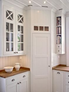 Corner pantry in White, scandinavian kitchen. I love the narrow shelves for book. Corner pantry in Corner Pantry Cabinet, Corner Kitchen Pantry, Kitchen Ikea, Kitchen Pantry Design, Kitchen Pantry Cabinets, Kitchen Decor, Corner Kitchen Cabinets, Cabinet Closet, Small Kitchens