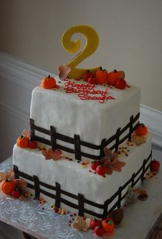 fall festive theme birthday cake... inspiration for brock's cake??