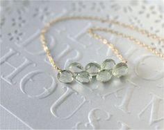 Gemstone Bar Necklace Green Amethyst Faceted by LemonDreamHouse, $28.00