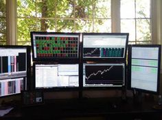 A Chicago-area trader sent us this desk. He trades options, commodities, and stocks. He uses CQG and EOS as his trading platforms.