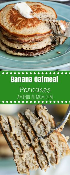 Banana Oat Pancakes: Simple Ingredients Are Blended Together To Create Fluffy And Naturally Sweet, Gluten-Free Banana Oatmeal Pancakes. Via Amindfullmom Gluten Free Pancakes, Gluten Free Banana, Keto Pancakes, Pancakes Easy, Buttermilk Pancakes, Breakfast Pancakes, Paleo Breakfast, Waffles, Banana Oatmeal Pancakes
