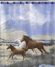 Horse Shower Curtain Running Free