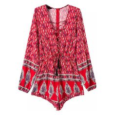 Deep V Neck Print Lace Up Romper ($20) ❤ liked on Polyvore featuring jumpsuits, rompers, red rompers, patterned romper, playsuit romper, deep v neck romper and red romper