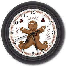I have this clock hanging above my kitchen sink.  While I was on maternity leave, I decided to decorate my kitchen with gingerbread people:)