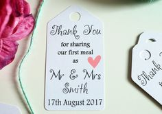 Wedding tags, wedding first meal, thank you wedding tags, wedding sharing first meal tags by KraziCrochet on Etsy